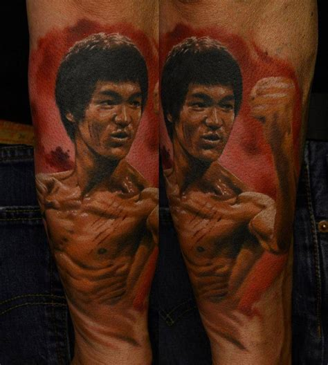 bruce lee tattoo awesome brucelee color portrait by den yakovlev