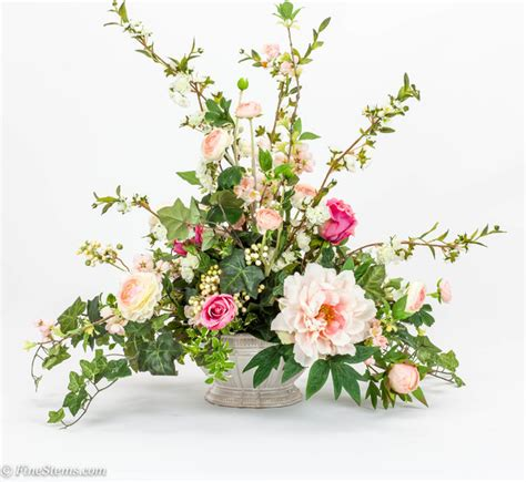 artificial floral arrangements pink rose silk floral arrangement with blossom branch