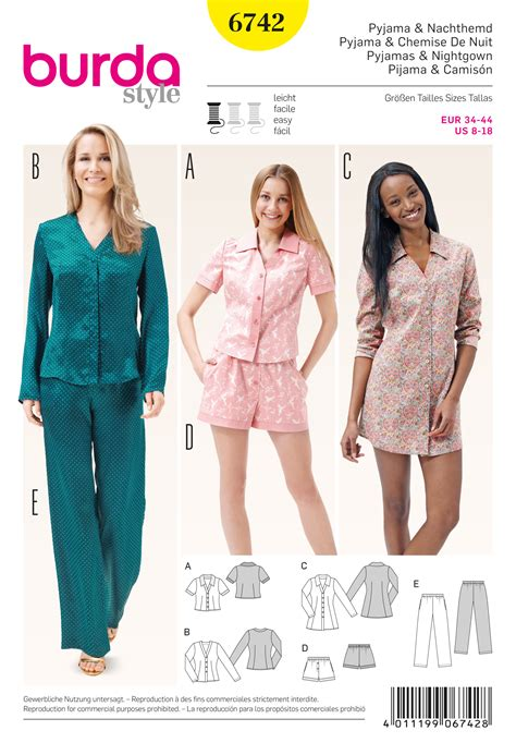 pattern sewing burda burda 6742 misses sleepwear