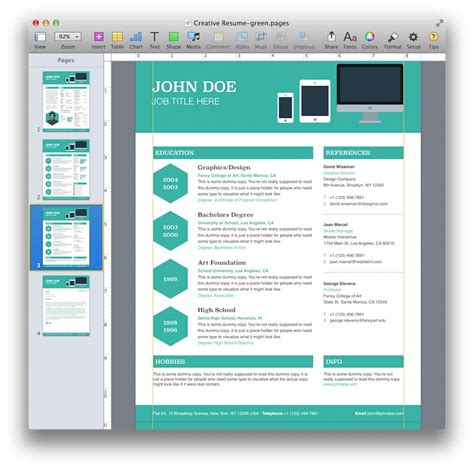 creative templates creative resume template for pages mactemplates