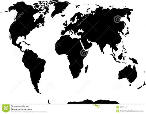 world map black and white vector world map black and white stock vector image 55291441
