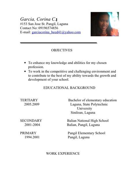 Resume Sample Tagalog by Teachers Resume