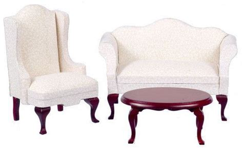 queen anne living room set   mahogany  white