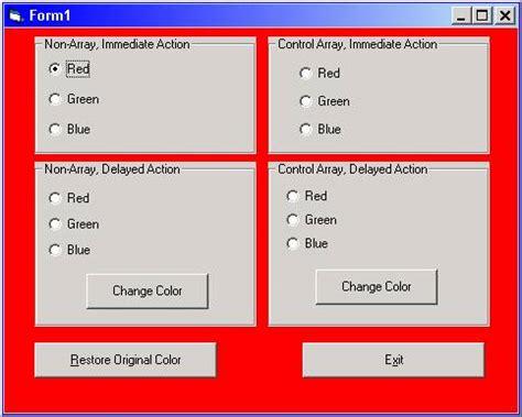simple visual basic program ideas option buttons