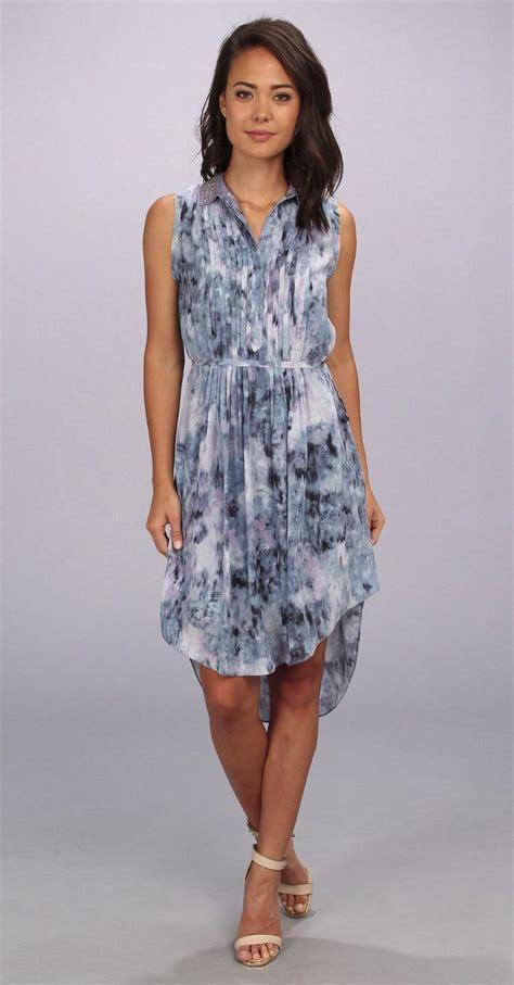 Miss Hotty Highwaist Import Navy Blue blue print pintuck sleeveless silk shirtdress belted dress 495 ebay