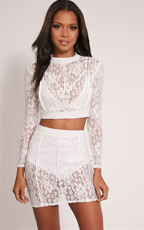 Set Flowy 76 oliviana sheer lace crop top high fashion lace crop tops