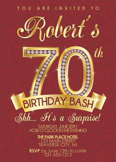 70th birthday invitations templates free 15 70th birthday invitations design and theme ideas