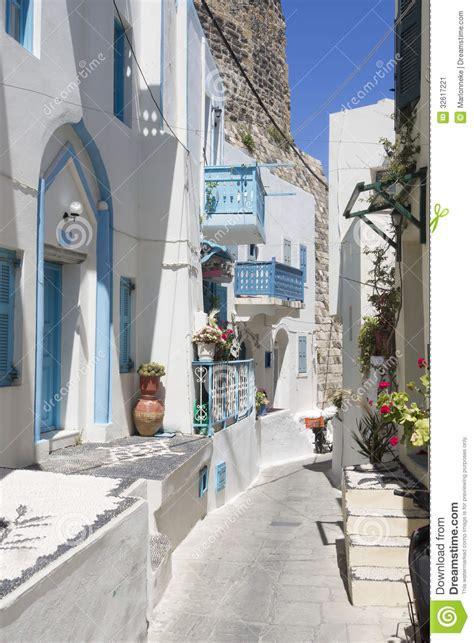 House Plains by Narrow Greek Street Stock Image Image Of Street Nisiros