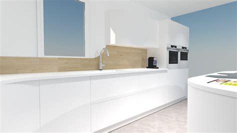 cuisine blanche laqu馥 sans poign馥s meubles de cuisine blanc style et lgance pour votre