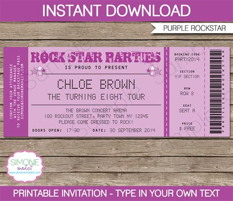 Rock Star Party Ticket Invitations Template Purple Birthday Ticket Invitation Template