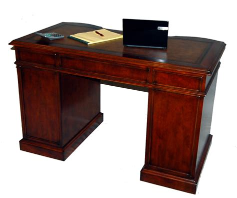Small Cherry Kneehole Desk With File Storage Leather Top Cherry Desk