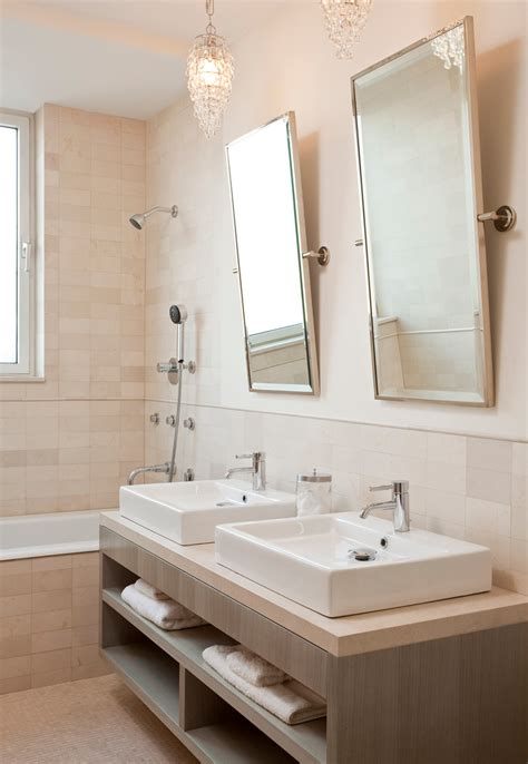 Cool Bathroom Mirrors Powder Room Contemporary With Brown Bathroom Sink With Mirror