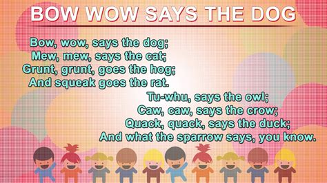 bow wow puppy lyrics bow wow says the poem nursery rhymes songs with lyrics and