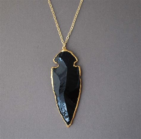 Obsidian Necklace 30 black obsidian arrowhead gold necklace
