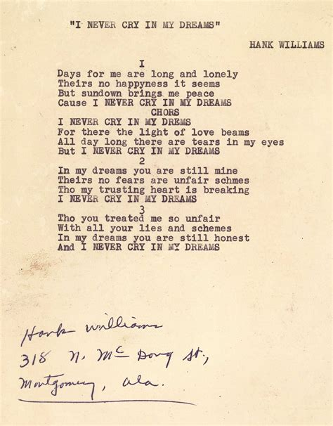 song in lot 593 hank williams sr signed song lyrics 1 unpublished