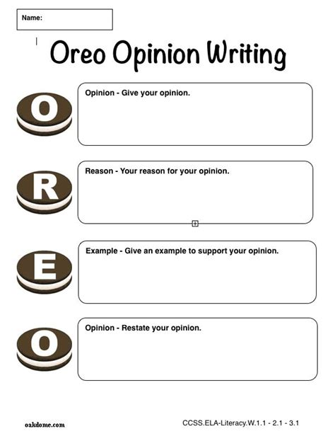 oreo template for persuasive writing graphic organizer oreo opinion writing plain