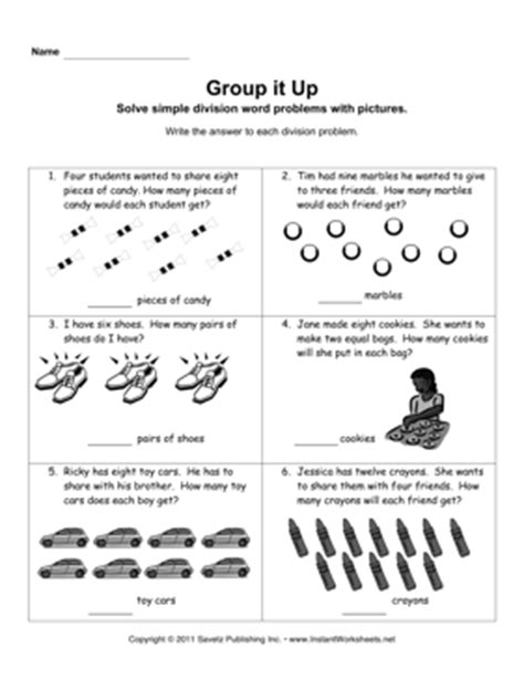 Division Word Problems Worksheets by 12 Best Images Of Easy Division Worksheets Division