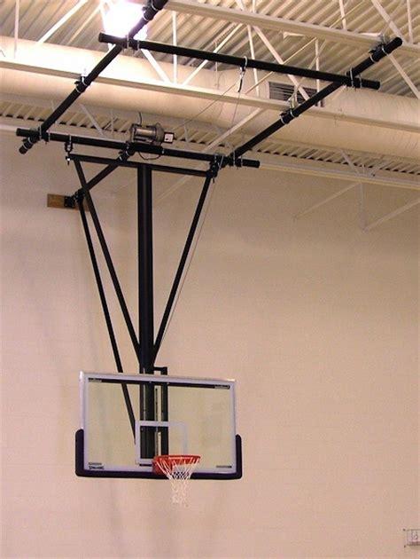 spalding gliding rear braced ceiling mast basketball backstop