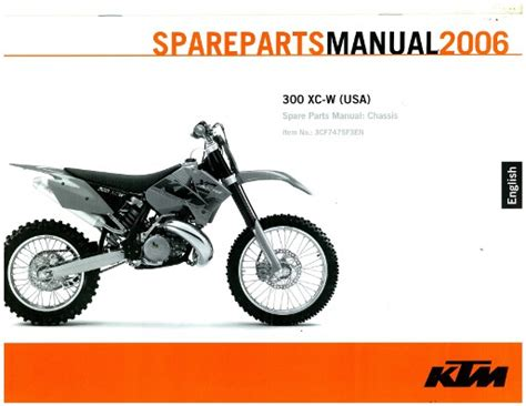 Ktm Spareparts 2006 Ktm 300 Xc W Chassis Spare Parts Manual