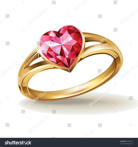 gold ring pic gold ring pink gemstone vector stock vector 92326915