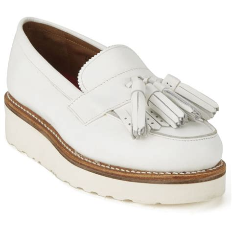 womens white loafers grenson s clara leather platform tassel loafers