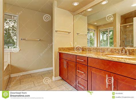 bagno con due lavandini il gabinetto di bagno con due lavandini ed il granito