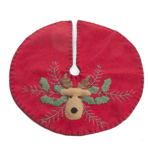 small christmas reindeer embroidered tree skirt