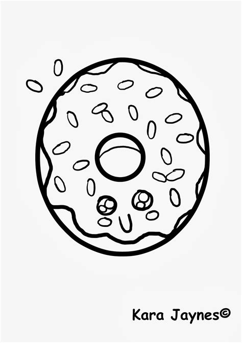 coloring pages donuts kara jaynes kawaii donut coloring page