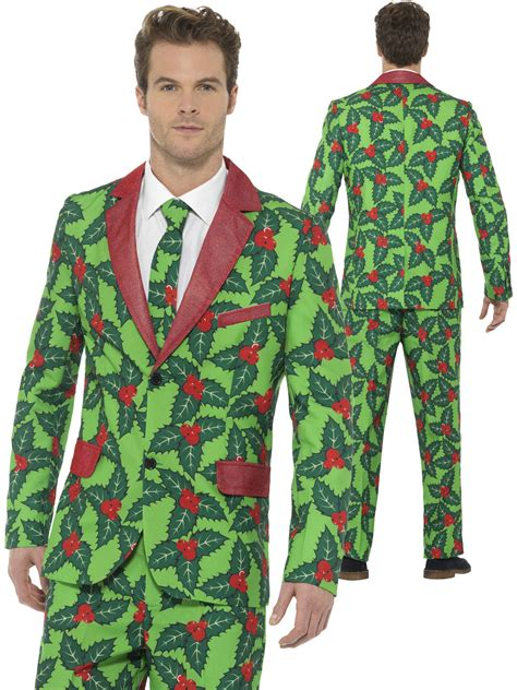 mens christmas stand out suit holly berry fun xmas fancy