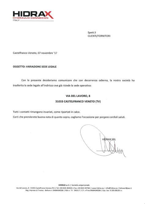 comunicazione trasferimento sede trasferimento della sede legale hidrax