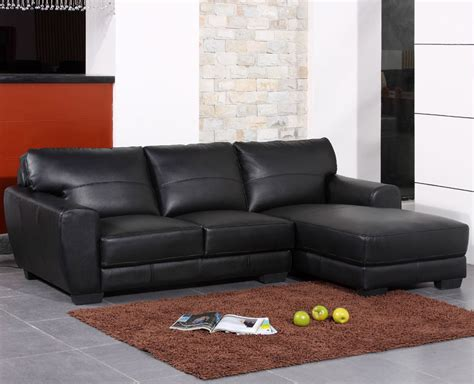 how to place a rug under a sectional sofa modern black bonded leather sectional sofa from the soft