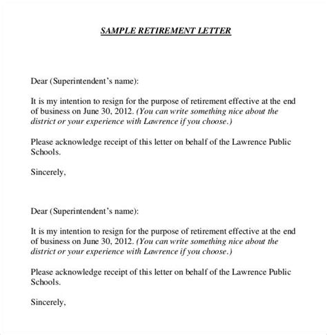 Retirement Letter Format Images Letter Format Formal Exle Retirement Resignation Letter Template Free