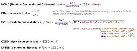 laser pointer safety laser hazard distance equations