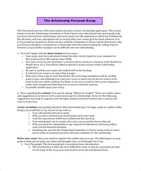 scholarship essay template sle scholarship essay 7 documents in pdf word
