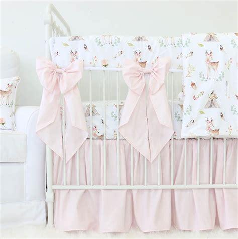 boho crib bedding blakely s blush boho woodland deer bumperless crib bedding caden lane