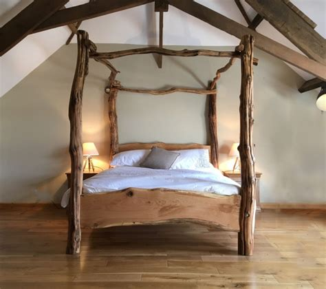 Bed Frame Post Ideas Rustic Oak Four Poster Tree Bed
