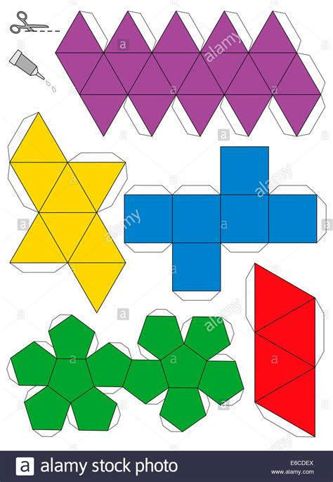 Platonic Solids Origami - paper model template of the five platonic solids to make