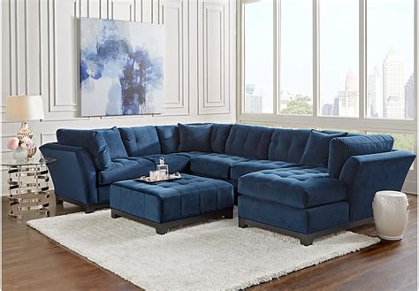 cindy crawford living room sets cindy crawford home metropolis navy 4 pc sectional living