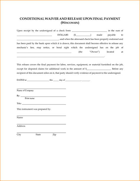 6 lien waiver template mac resume template