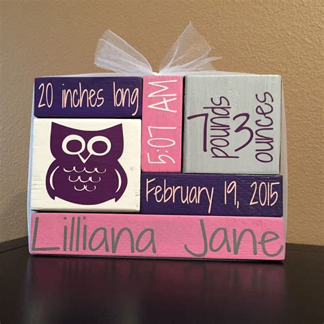 monogrammed home decor custom personalized wood block home decor newborn baby