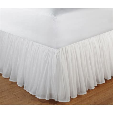 bed skirts queen greenland home fashions cotton voile bed skirt walmart com