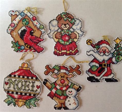 christmas ornaments counted cross stitch set of 5