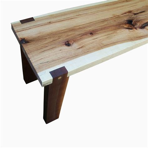 slab wood bench buy a hand made handmade hickory slab and walnut bench