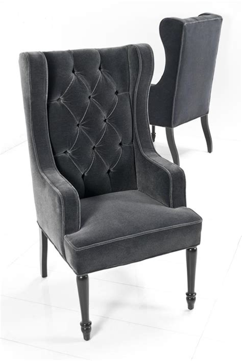 Dining Wing Chair Www Roomservicestore St Tropez Dining Wing Chair In Slate Mohair