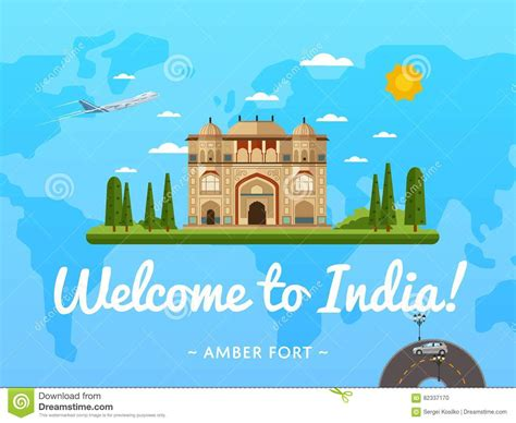 poster design in jaipur welcome to india poster with famous attraction stock