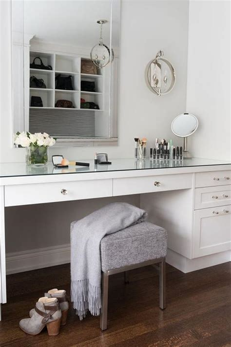 how to build a vanity desk blue makeup vanity with with mirrored top transitional