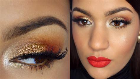 imagenes de ojos y labios maquillados maquillaje ojos dorados y labios rojos abrildoesmakeup