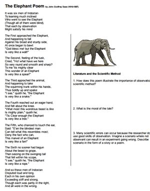 The Elephant Poem Worksheet Answers why is observation important