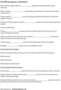 curriculum evaluation template health template for program evaluation exle of health
