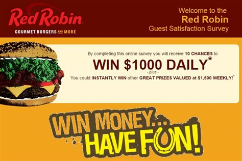 Red Robin Sweepstakes - red robin feedback survey win 1000 daily 1500 weekly sweepstakesbible